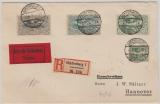 Oberschlesien, Nrn.: 24 u.a. auf Einschreiben- Eilboten  Fernbrief von Hindenburg nach Hannover, gepr Gruber BPP