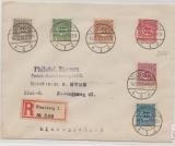Schleswig, Nrn.: 1- 6, als MiF auf Einschreiben- Fernbrief, von Flensburg nach Kiel