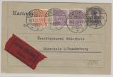 Schleswig Nrn.: 7, 9 (2x) als ZS-Frankatur auf DR- 15Pfg. Kartenbrief- GS- Expres- Frankatur innerhalb Sonderburgs