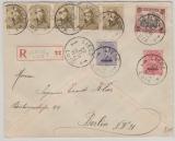 Malmedy Nrn.: 4A + 5A in MiF mit Belgischen Marken, auf Auslands- Einschreiben- Fernbrief von Liege nach Berlin