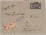 Nr.: 38 in Ef auf Einschreiben- Fernbrief von Memel nach Kiel, vs. + rs. mit Zensur