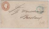 3 Groschen GS- Umschlag, verwendet als Fernbrief von Hannover nach Breslau