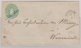 1 1/2 Sh.- GS- Umschlag, gelaufen als Fernbrief von Güstrow nach Warnemünde
