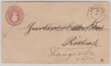 2 Sh.- GS- Umschlag (U10, gebraucht als Fernbrief von Lalendorf (?) nach Rostock