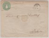 1 1/2 Sh.- GS- Umschlag (groß, U2B), gebraucht als Fernbrief von Güstrow nach Parchim
