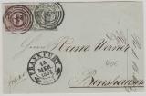 Nrn.: 7b + 9, als MiF auf Briefvorderseite, verwendet als Fernbrief von FFM nach Bensheim