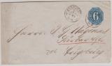 6 Kr.- GS- Umschlag, verwendet als EF auf Fernbrief von Cannstadt nach Augsburg